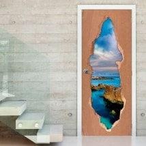 Vinilos Para Puertas Rayos En El Mar 3D