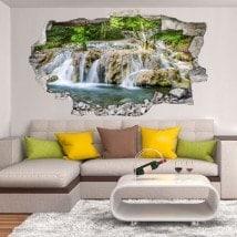 Vinilos Decorativos Cascadas En El Bosque 3D