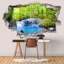 Vinilos 3D Cascadas En El Bosque Tropical