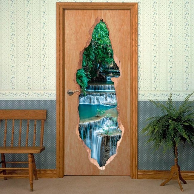 Vinilos De Puertas 3D Cascadas Naturaleza