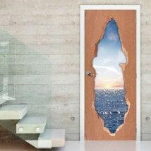 Vinilos De Puertas Atardecer En El Mar 3D