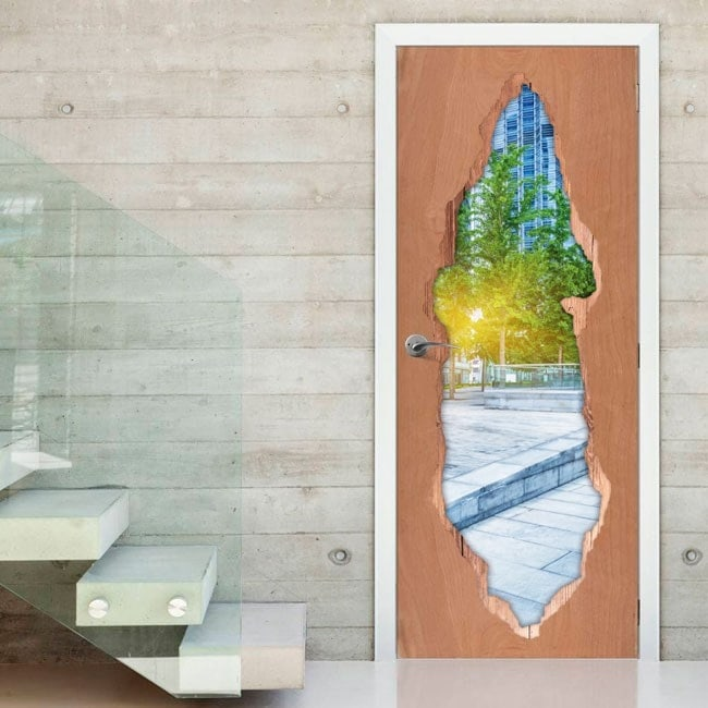 Vinilos De Puertas Atardecer En La Ciudad 3D