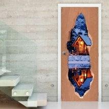 Vinilos De Puertas Cabaña En Invierno 3D