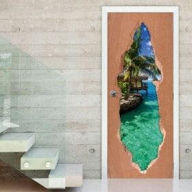 Vinilos Para Puertas Paraíso Tropical 3D