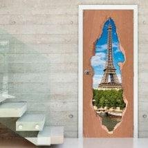 Vinilos Para Puertas Torre Eiffel Paris 3D