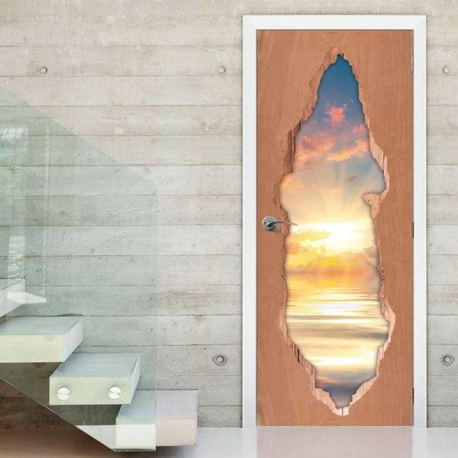Vinilos 3D Puertas Puesta De Sol En El Mar