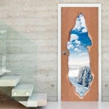 Vinilos 3D Para Puertas Montañas Nevadas