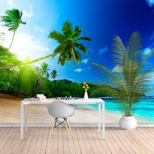fotomurales de vinilo palmeras atardecer playa