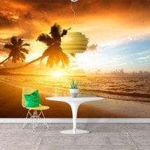 Fotomurales Atardecer Palmeras En La Playa