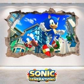 Vinilos Decorativos 3D Sonic Generations