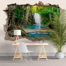 Vinilos Y Pegatinas Cascadas En El Bosque 3D