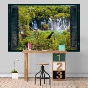 Vinilos Ventanas Cascadas Naturaleza 3D