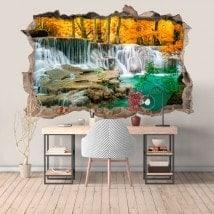 Vinilos Cascadas En El Bosque 3D