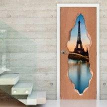Vinilos Para Puertas Paris Torre Eiffel 3D
