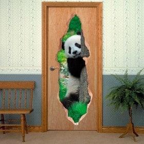 Vinilos De Puertas Oso Panda 3D