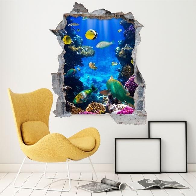 Vinilos decorativos peces en el arrecife 3d for Vinilos 3d infantiles