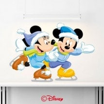 Vinilos Mickey Y Minnie Patinando