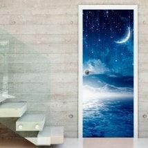 Vinilos Puertas Noche Luna Y Estrellas