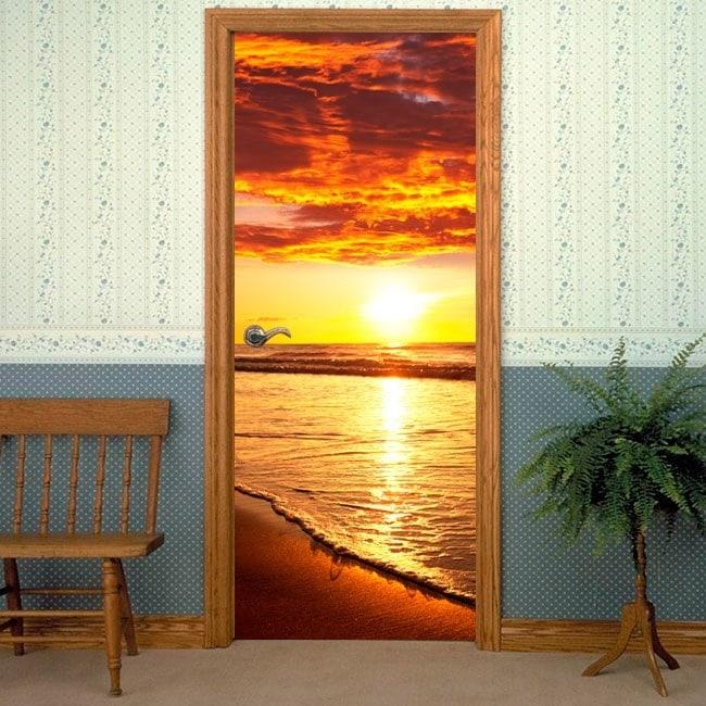 Vinilos decorativos puertas atardecer en la playa for Vinilos decorativos puertas