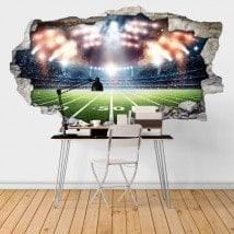 Vinilos Estadio Fútbol Americano Pared Rota 3D