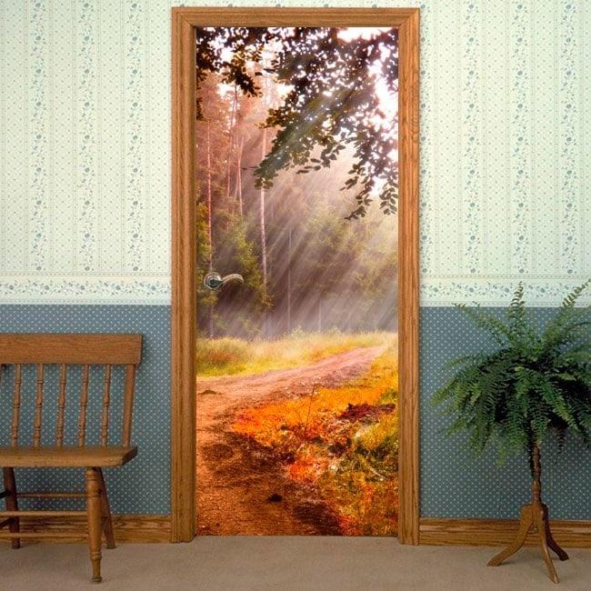 Vinilos Puertas Rayos De Sol En La Naturaleza