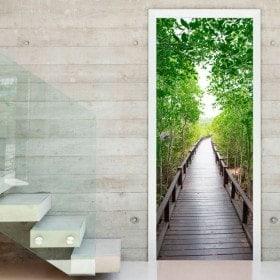 Vinilos Decorativos Para Puertas Puente En El Bosque