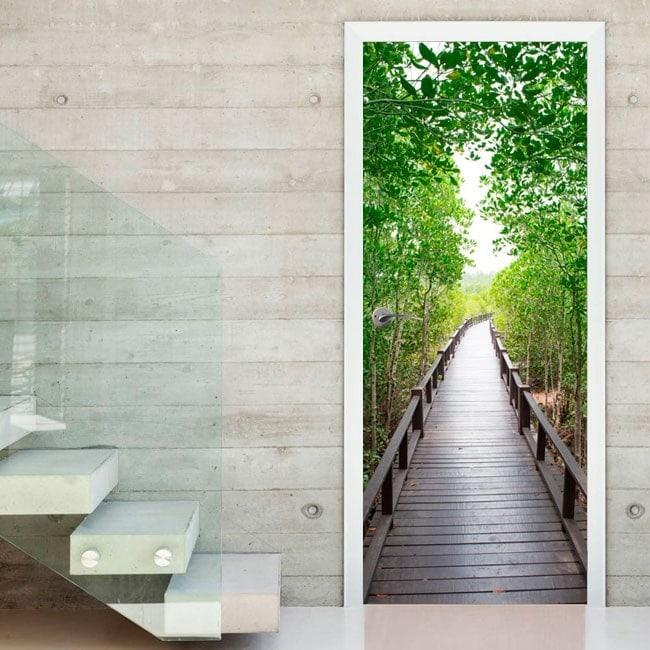 Vinilos Decorativos Para Puertas Armarios.Vinilos Decorativos Para Puertas Puente En El Bosque