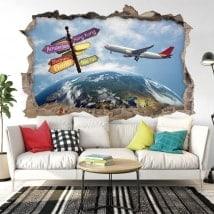 Vinilos decorativos 3d viajes por el mundo