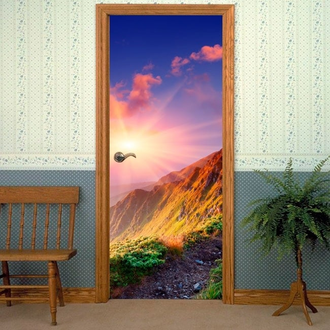 Vinilos decorativos para puertas atardecer montañas