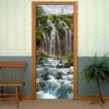 Vinilos decorativos puertas cascadas montañas