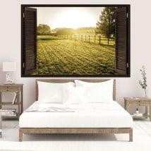 Vinilos 3D ventanas atardecer en el prado