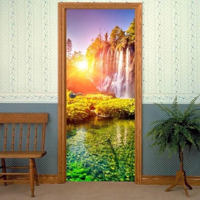 Vinilos decorativos puertas atardecer en las cascadas