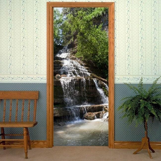 Vinilos decorativos puertas cascada montaña