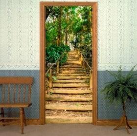Vinilos decorativos puertas escalera en el bosque