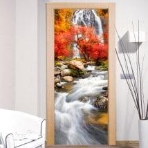 Vinilos decorativos puertas cascada naturaleza