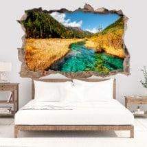 Vinilos decorativos 3D río en las montañas