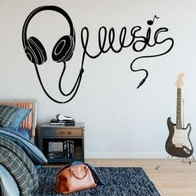 Vinilos decorativos auriculares música
