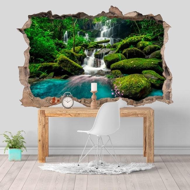Vinilos decorativos 3D cascadas en la selva