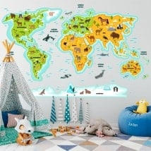 Vinilos infantiles mapamundi animales