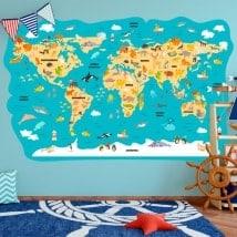 Vinilo infantil mapamundi animales