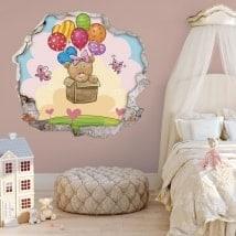 Vinilos infantiles 3D osito y globos