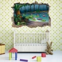 Vinilo infantil 3D bosque mágico