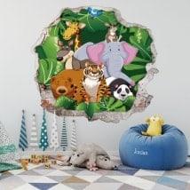 Vinilos infantiles 3D animales del zoo