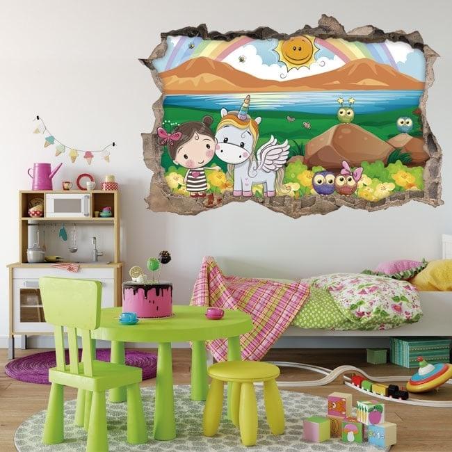 Vinilos infantiles 3D niña y unicornio