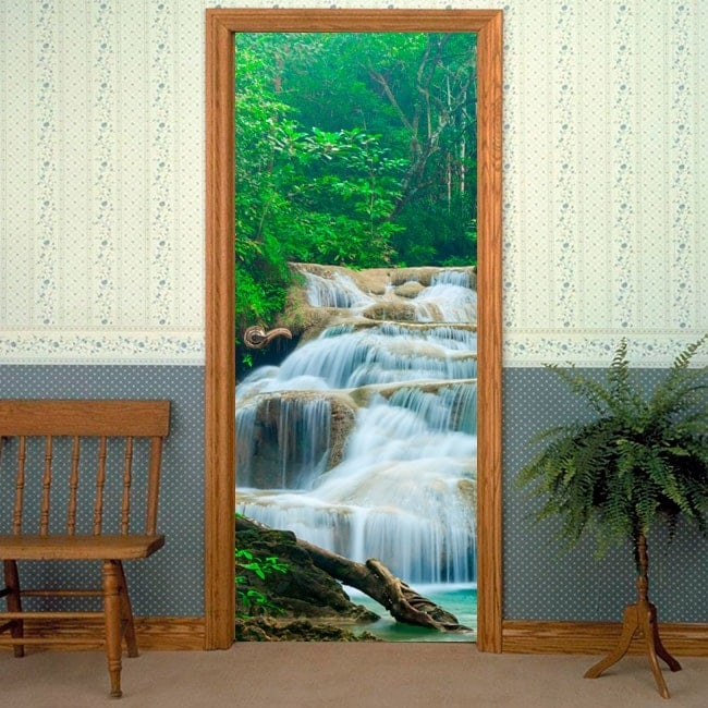 Vinilos decorativos puertas cascadas naturaleza for Vinilos decorativos puertas
