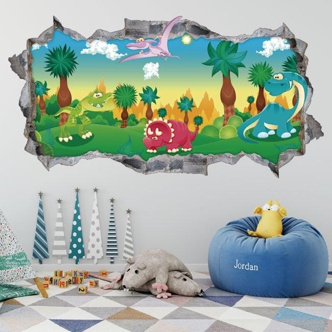 Vinilos infantiles 3D parque jurásico
