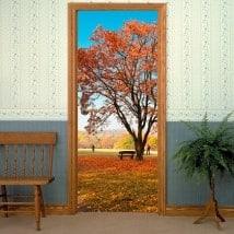 Vinilos decorativos para puertas árbol en otoño