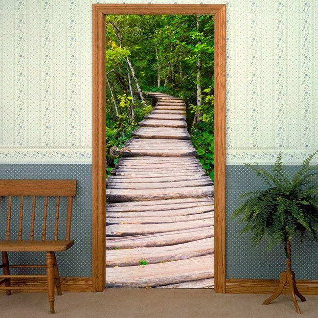 Vinilos decorativos puertas camino en la naturaleza