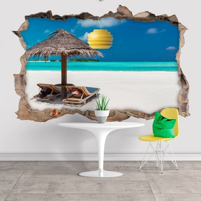 Vinilos decorativos 3D playa en las Maldivas
