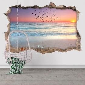 Vinilos decorativos 3D sale el sol en la playa